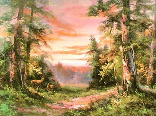 Hirsche im Wald bei Dämmerung