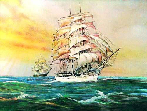 Segelschiffe, Klipper im Sonnenuntergang Alu Poster
