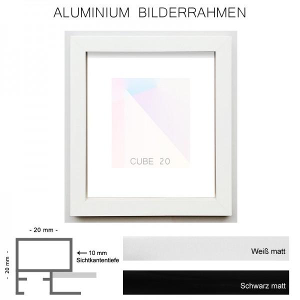 Alurahmen 50x100 cm, Cube20 schwarz und weiß matt