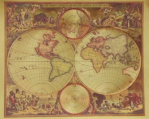Historische Weltkarte von De Witt, Gold- Aluminium Druck 21x26 cm
