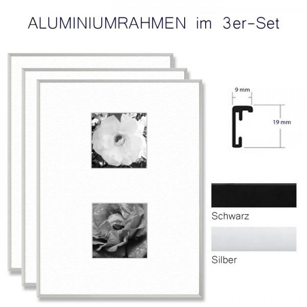 Alurahmen 10 x 15 im Set in Silber und Schwarz matt