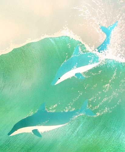 Zwei Delfine Alubild 21x26