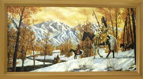 Wandbild 40x77 cm : Indianer im Winter