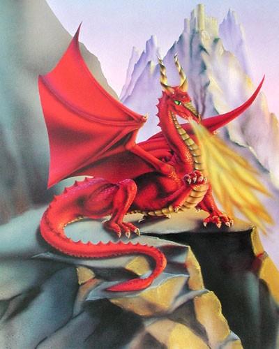 Feuerdrache auf Bergspitze Poster 40x50 cm