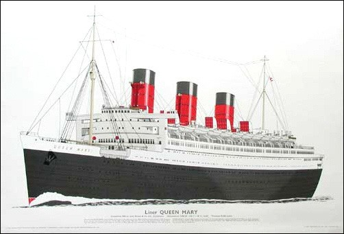 Liner Queen Mary 1936 Lithographie
