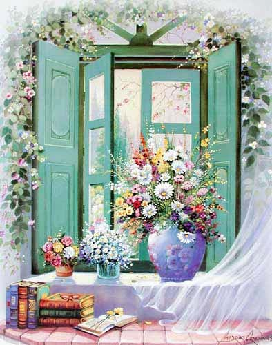 Blumen am Fensterbank by Andres Orpinas *