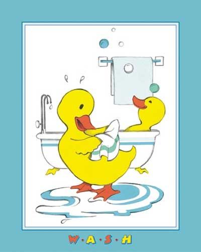 Enten beim Waschen Kunstdruck 20x25 cm