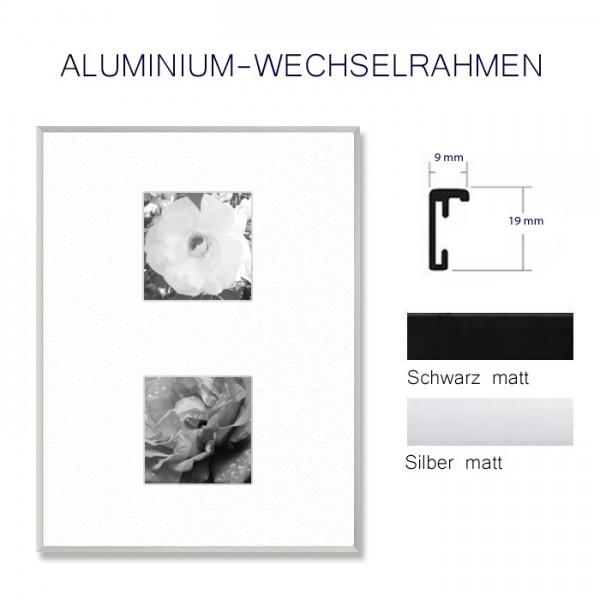Aluminium Bilderrahmen DIN A3 in Silber oder Schwarz matt
