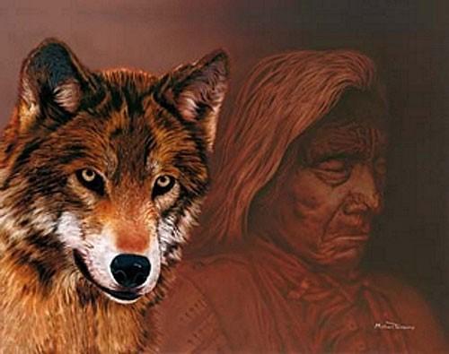 Indianer und Wolf, Michael Telapary