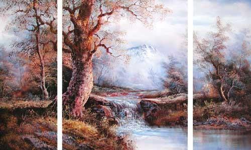Lanschaft und Wasserfall by I. Cafieri