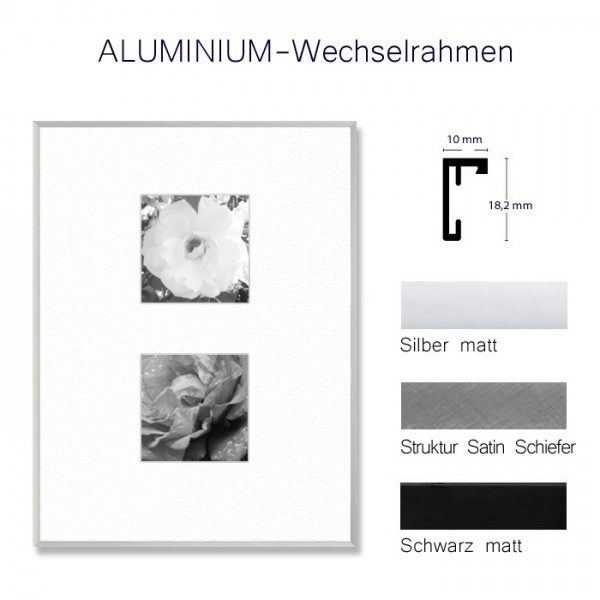 Aluminium Bilderrahmen 30x40 cm, kantige Leiste in Silber, Schwarz und Grau