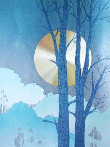Vollmondnacht mit Baum rechts, Bild 32x42