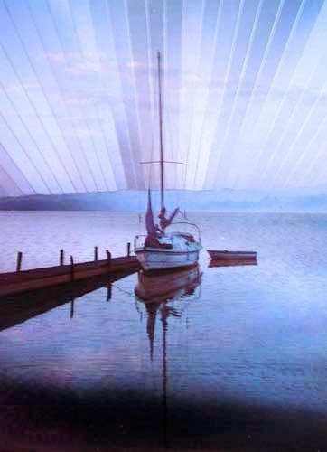 Segelboot am Steg Alu Druck