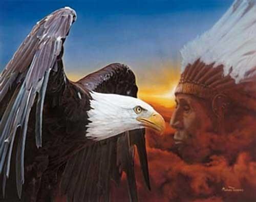 Indianer-Häuptling und Adler Poster