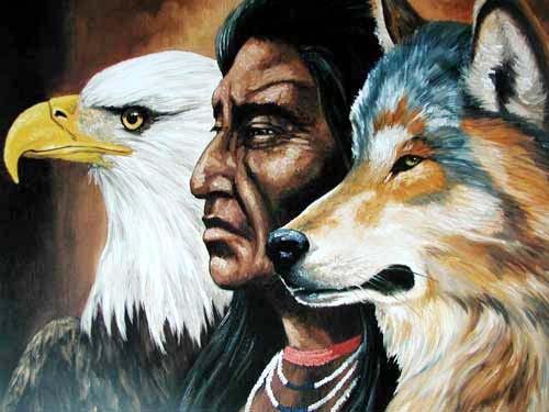 Indianer, Adler, Wolf