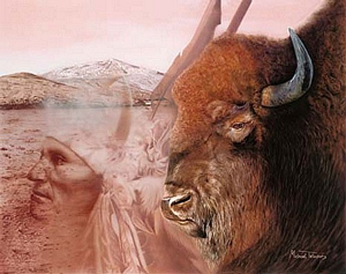Indianer und Büffel, Michael Telapary