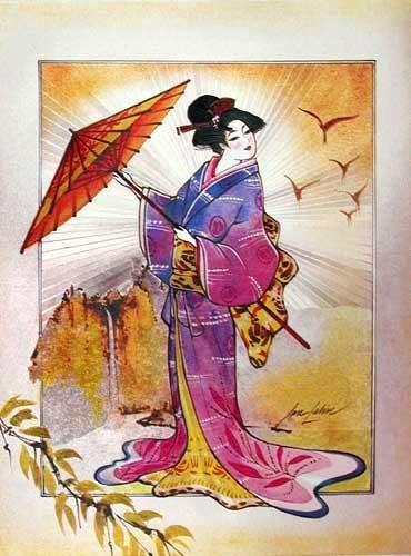 Japanerin mit Sonnenschirm Alu Bild