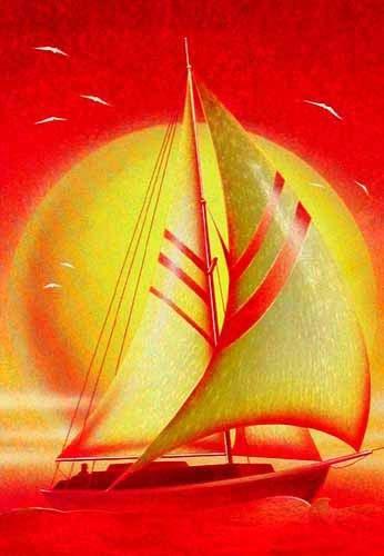 Segelboot Postkarte