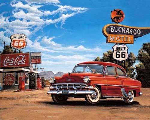 Oldtimer auf Route 66 Poster