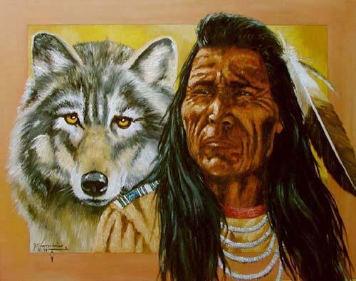 Indianer und Wolf by J.T.Vogtschmidt