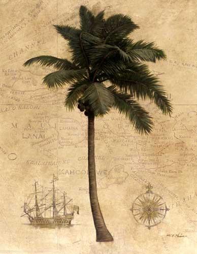Palme mit Seekarte Kunstdruck 40x50 cm