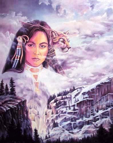Indian Princess und Mountain Lion by Jonnie K. Kostoff
