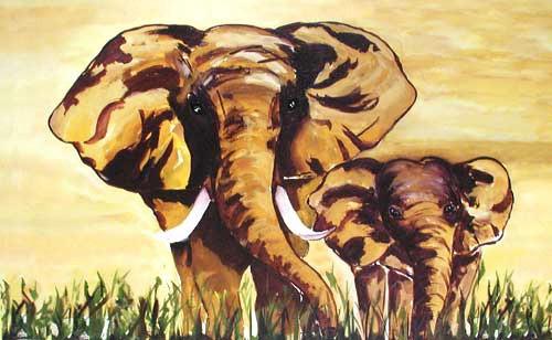Zwei Elefanten Kunstdruck 50x80 cm