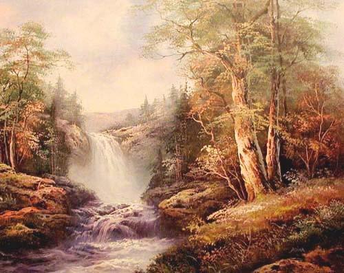 Landschaft und Wasserfall by Adina