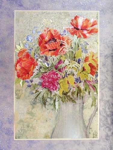 Strauß aus Mohnblumen und Pfingsrosen Alu Bild