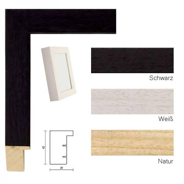 Holzbilderrahmen / Objektrahmen, Trikotrahmen 50x70 / 70x50 cm, schwarz, weiß, natur