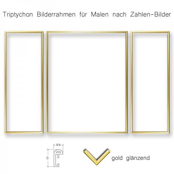 Triptychon Rahmen-Set gold für Malen nach Zahlen-Bilder