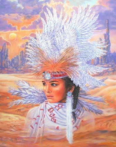Indianerin als Braut mit Federschmuck Poster 40x50