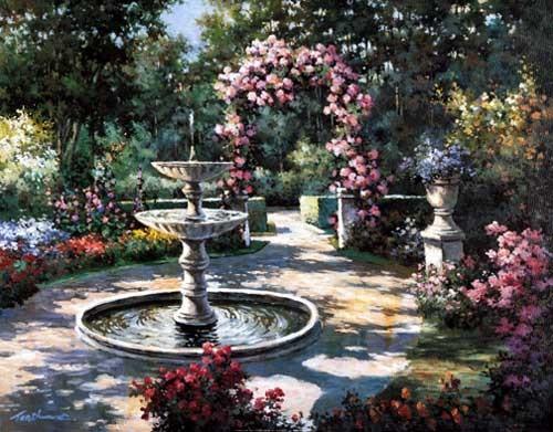 Garten mit Rosenbogen und Springbrunnen, Kunstdruck 20x25