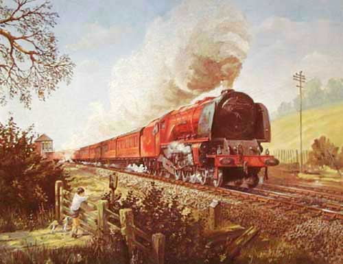Dampfeisenbahn Alubild 16x21 cm