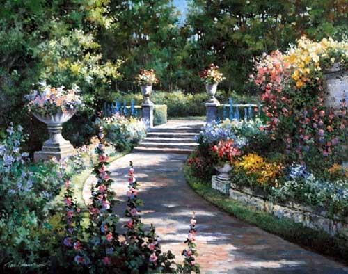Blumen-Gartenweg, Chiu Kunstdruck 28x35 cm