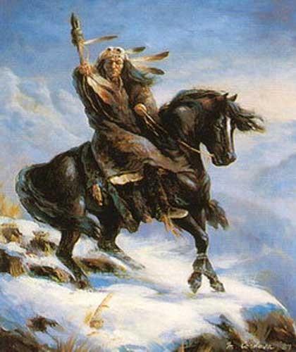 Indianer Krieger auf Pferd nach rechts Poster