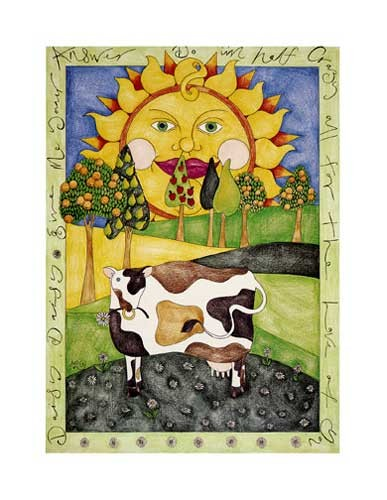 Gänseblümchen Kuh Lithodruck 20x25 cm