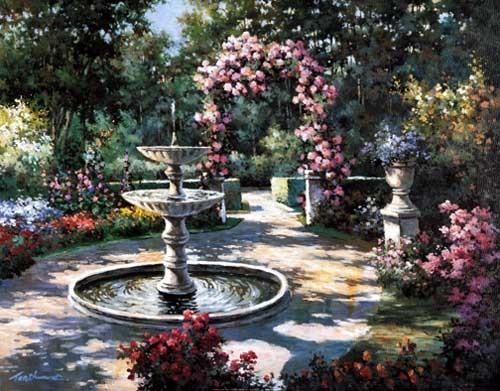 Springbrunnen und Rosenbogen Chiu, Kunstdruck 40x50