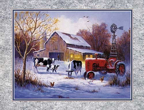 Winter Farm, Caroselli - Lithodruck 20x25 cm