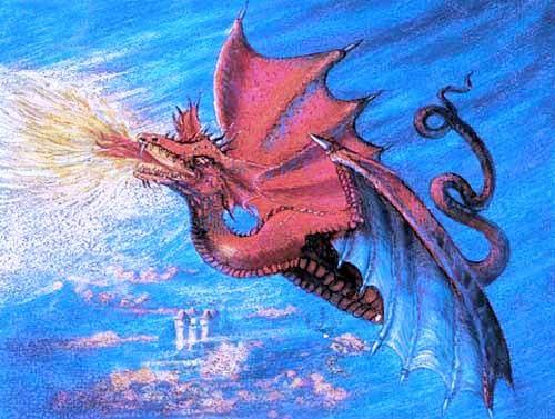 Roter Drache im Flug Alu Bild