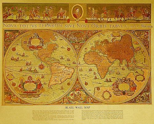 Historische Weltkarte von Blaeu, Druck 21x26 cm