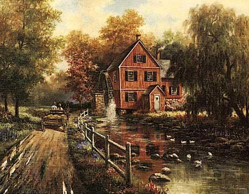 Rote Mühle, Chiu Kunstdruck 56x71 cm