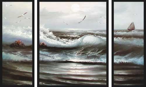 Brandung II, Triptychon Wandbild
