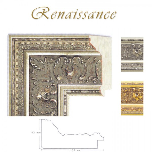Stilrahmen 50 x 100 cm, Gold und Silber