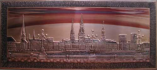 Hamburg, Binnenalster Kupferbild 53x121 cm
