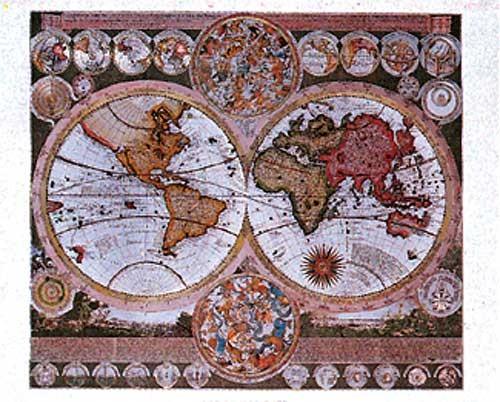 Historische Weltkarte, Schenk- Aluminiumdruck in Silber