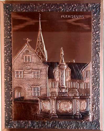 Kupfer-Relief-Bild 37x47 cm: Flensburg