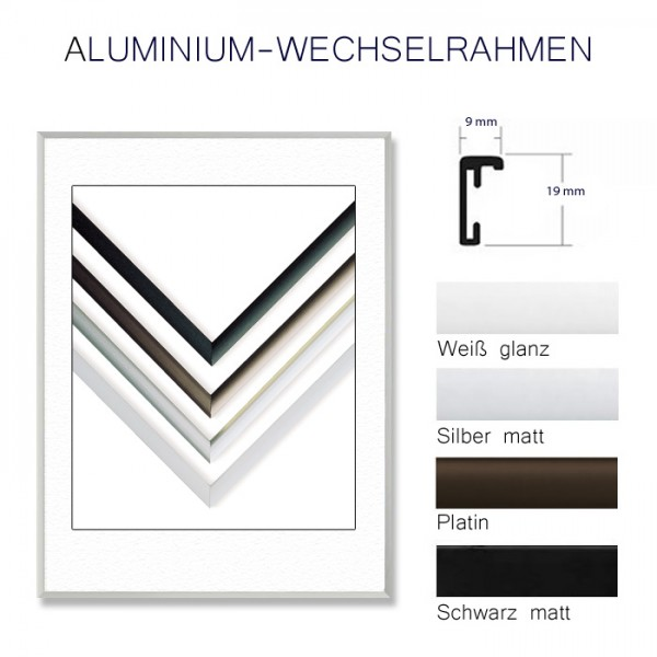 Alurahmen 40x50 cm Schwarz,Weiß, Silber, Platin