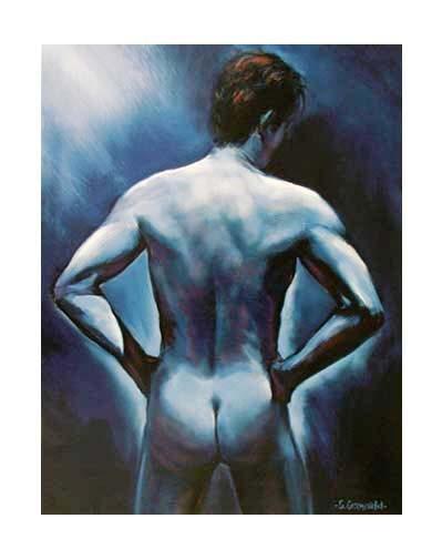 Männlicher Akt in blau by G. Groeneveld *