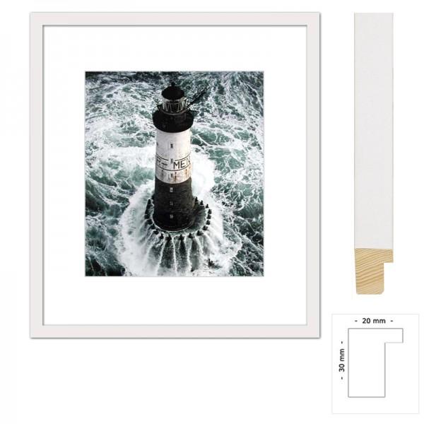 Wandbild Leuchtturm Ar Men mit weißem Holzrahmen